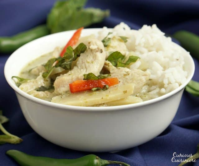 Thai Green Curry is a spicy curry with a unique, herbal flavor. It is an easy curry that is perfect for a weeknight dinner! | www.CuriousCuisiniere.com