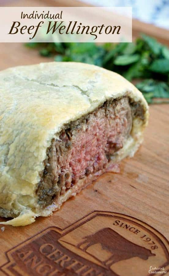 Individual Beef Wellington are an easy way to bring an over the top, classy feel to any special dinner. Our recipe pairs perfectly with a glass of smooth Merlot wine. | www.CuriousCuisiniere.com