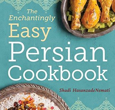 Sea blue Easy Persian Cookbook cover with a Persian chicken and rice dish.