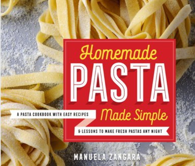 Homemade Pasta Made Simple cookbook cover with fresh pasta nests.