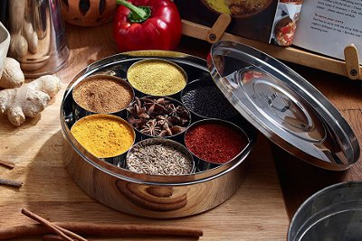 Masala daba, Indian spice box with colorful spices.