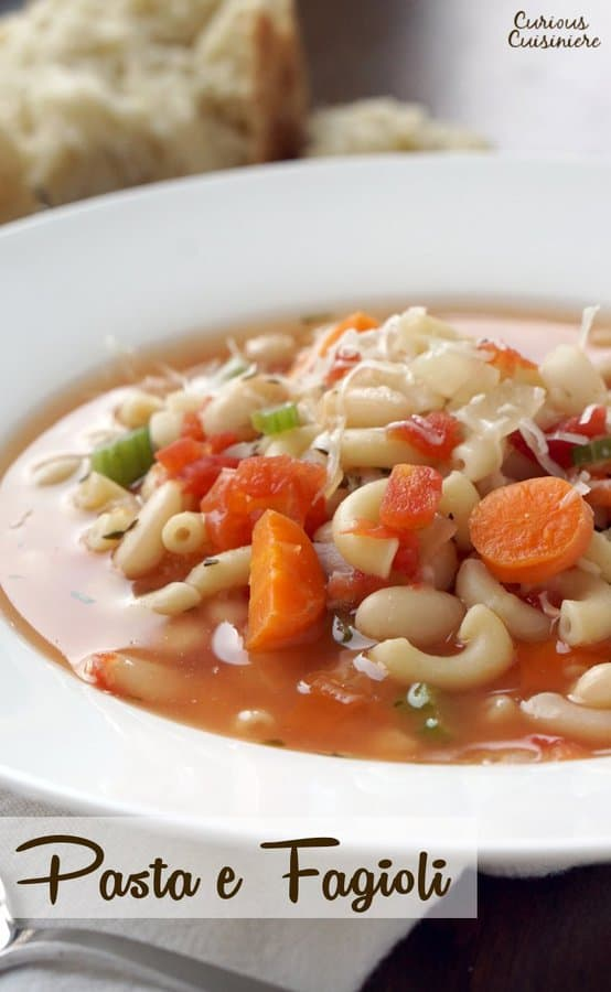 "Literally translated ""Pasta with Beans,"" white beans make this Pasta e Fagioli a hearty and filling dish. It's a great recipe for a comforting lunch or dinner. 