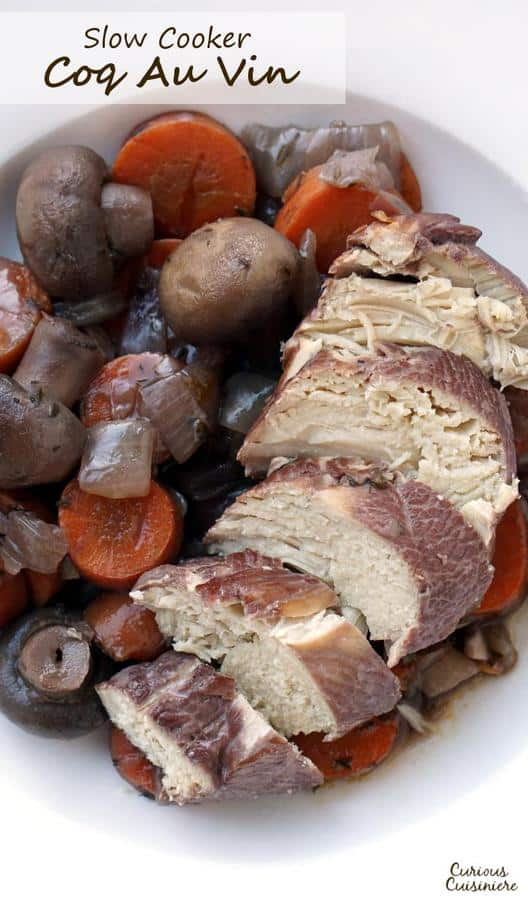 Our Slow cooker Coq Au Vin recipe makes this classic French dish of wine braised chicken perfect for an easy weeknight dinner.  | www.CuriousCuisiniere.com