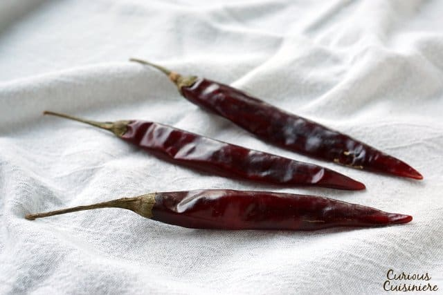 Pulla chilies are long and thin, like guajillos, but smaller and spicier. | www.CuriousCuisiniere.com