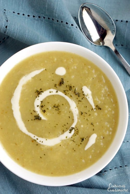 Irish Parsnip Soup is creamy and comforting with a hint of curry spice and a light sweetness from apples. | www.CuriousCuisiniere.com