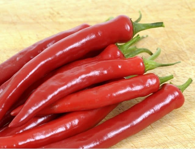 Cayenne peppers are long, skinny, bright red chiles.