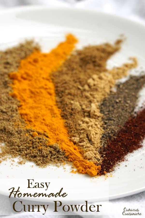 Our simple homemade curry powder is an easy way to have instant access to curry powder, using spices that you probably already have in your pantry. | www.CuriousCuisiniere.com
