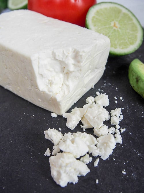 Mexican cheese queso fresco with crumbles.