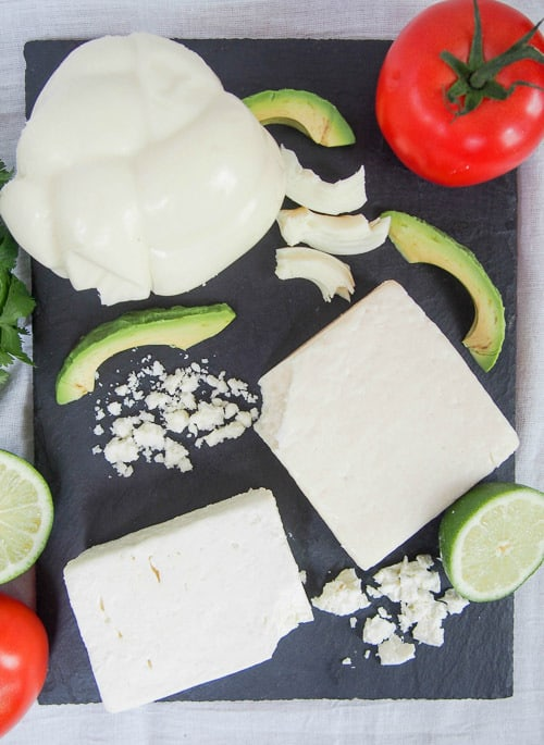 Vertical spread of Mexican cheese.