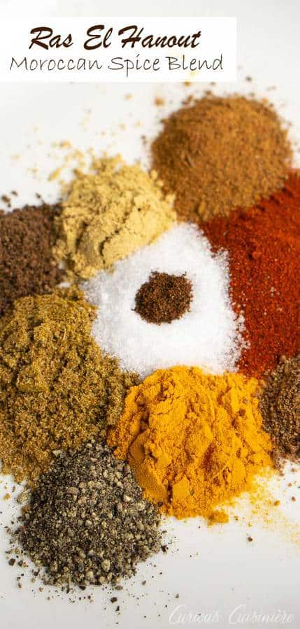 Dive into Moroccan cuisine with this Moroccan spice mix, Ras el Hanout. This blend of spices, including cumin, cinnamon, paprika, turmeric, pepper, and more, is robust in flavor, but not too spicy. It is wonderful to use with chicken, pork, beef, fish, and veggies! | www.CuriousCuisiniere.com #spicemix #moroccan