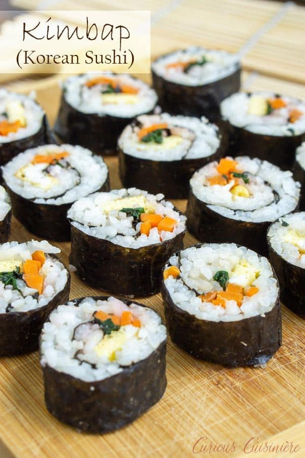 Kimbap (or gimbap) could be called Korean sushi, and if you are a fan of sushi, you are going to love the light and slightly nutty flavor of these rolls. They're the perfect recipe for summer picnics and lunches! #sushi #korean #picnic| www.CuriousCuisiniere.com