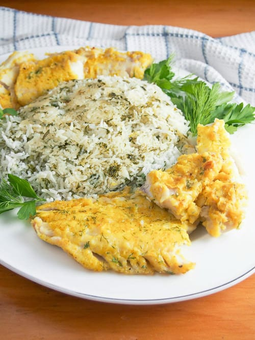 Persian herb rice with fish from Caroline's Cooking
