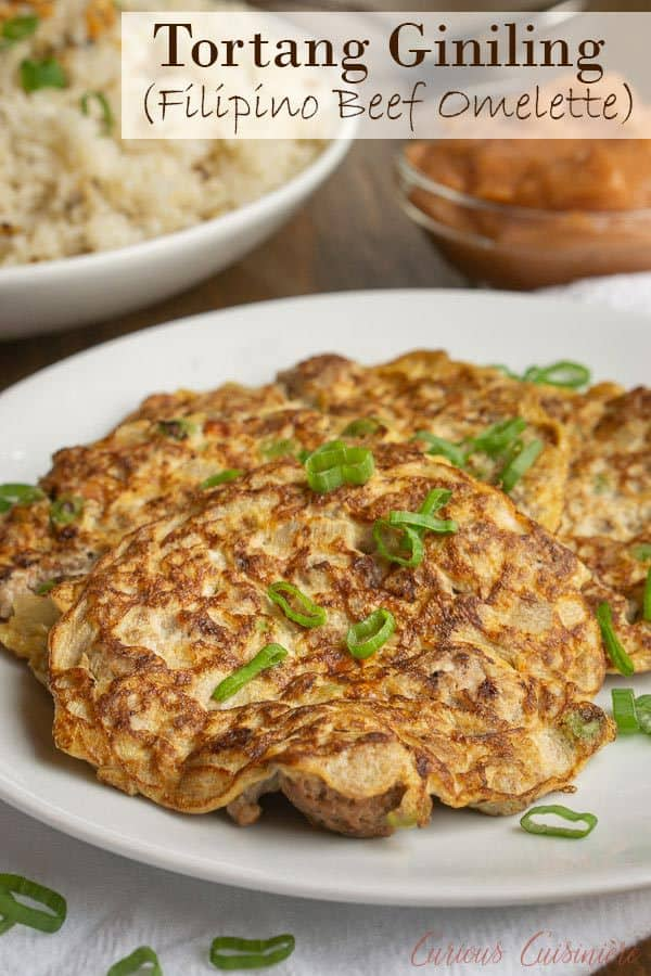 Tortang Giniling is a Filipino ground beef omelette that is the perfect unique breakfast, lunch, or snack recipe. #omelette #filipino  | www.CuriousCuisiniere.com