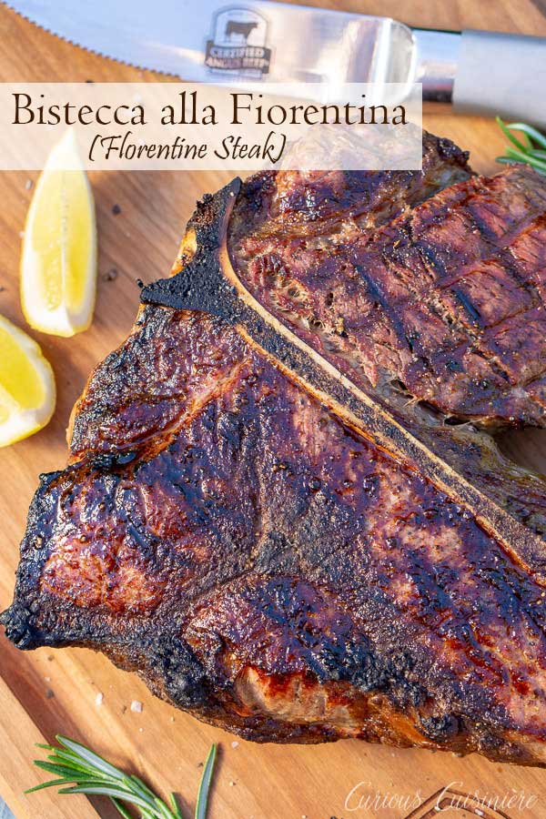 Bistecca alla Fiorentina is an impressive dish of Porterhouse steak done Florentine style. This Florentine steak is a simple recipe, perfect for a summer dinner party. #grilling #porterhouse #italianfood | www.CuriousCuisiniere.com