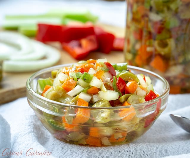 Chicago Style Hot Giardiniera Relish uses diced vegetables and ample hot peppers to create a tangy and spicy topping for sandwiches, hot dogs, and more. | www.CuriousCuisiniere.com