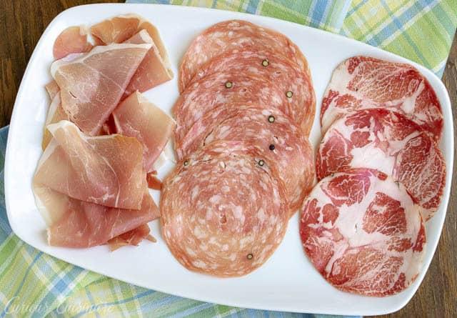Prosciutto, Soppressata, Capocollo tro (from left to right)| www.CuriousCuisiniere.com