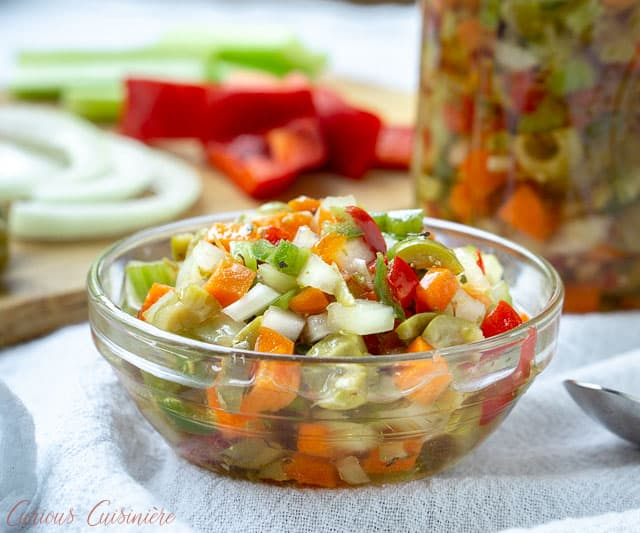 Hot Giardiniera Relish uses diced vegetables and ample hot peppers to create a tangy and spicy topping for sandwiches, hot dogs, and more. | www.CuriousCuisiniere.com