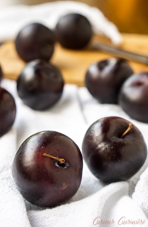 As the name implies, plums are the main ingredient in Chinese Plum Sauce. The color of the skin of the plums will determine the shade of the sauce. | www.CuriousCuisiniere.com