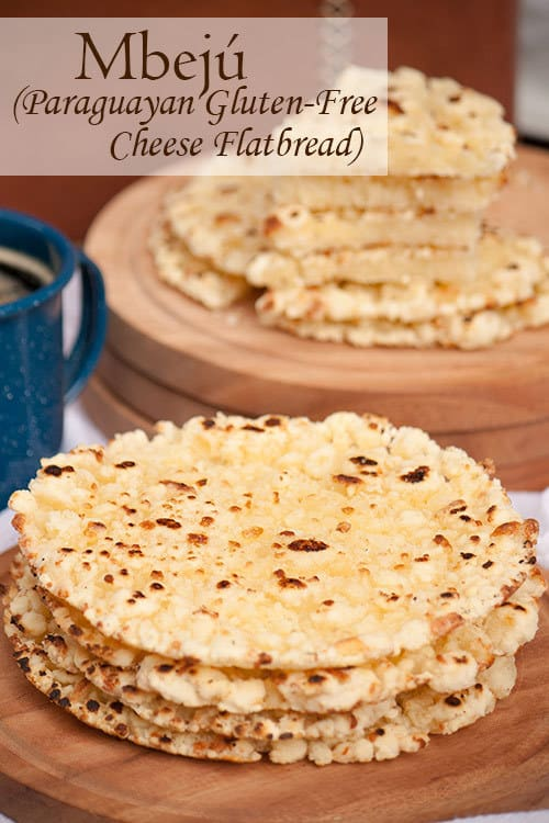 Mbejú is a buttery, gluten-free, cheese flatbread with crispy edges that is made with cassava flour and enjoyed all over Paraguay with a cup of coffee or cocido tea. #flatbread #fallbread #cheesebread #appetizer   www.CuriousCuisiniere.com