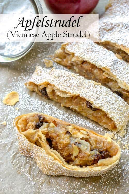 Wiener Apfelstrudel is a classic Viennese apple dessert that you probably know by the name of Apple Strudel. Flaky layers of strudel dough encase a bright fall apple filling that is studded with raisins and almonds. If you love apple pie, apple strudel is sure to be a winning recipe! | www.CuriousCuisiniere.com