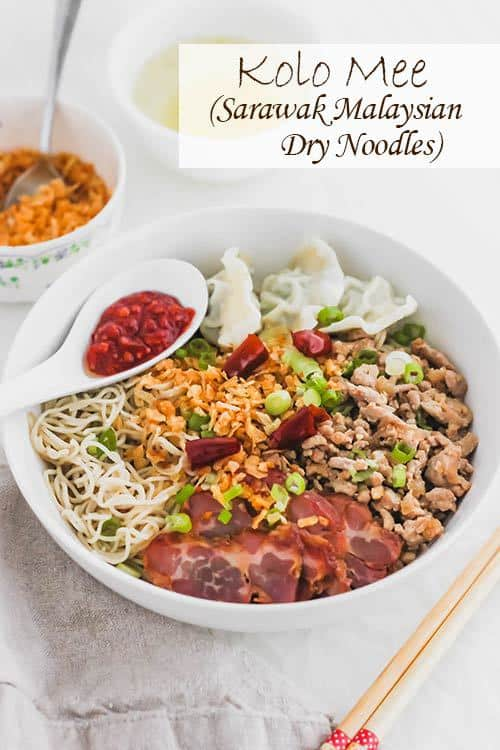 Kolo Mee is a Sarawak Malaysian dish of dry noodles tossed in a savoury pork and shallot mixture, topped off with fragrant fried onions. A classic staple food in Malaysia, it is eaten for breakfast, lunch, or dinner. #noodles #malaysian | www.CuriousCuisiniere.com