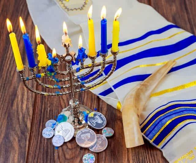 Hanukkah menora and coins