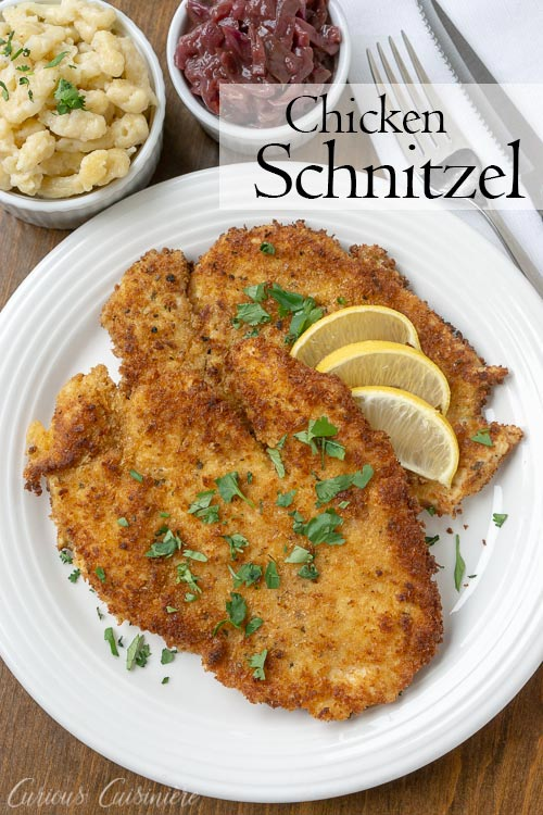 Hänchen-Schnitzel, German Chicken Schnitzel ,is an impressive, yet easy dinner recipe that the whole family will love. | www.CuriousCuisiniere.com