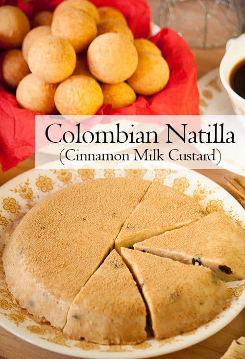 Natilla is a firm milk custard infused with cinnamon and served with buñuelos (fritters) during Christmas time in Colombia. | www.CuriousCuisiniere.com