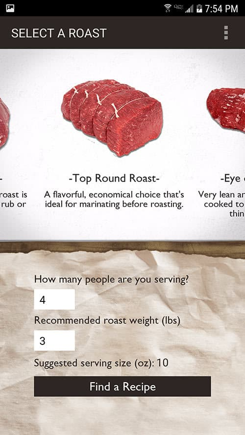 Screenshot of top round roast in the Roast Perfect app.