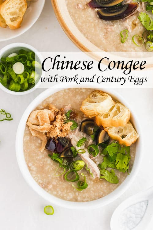 Chinese Congee is a warm and comforting rice porridge. Preserved century eggs and pork, make this pork congee recipe a flavorful, savory dish with hints of salt from the century eggs. | www.CuriousCuisiniere.com