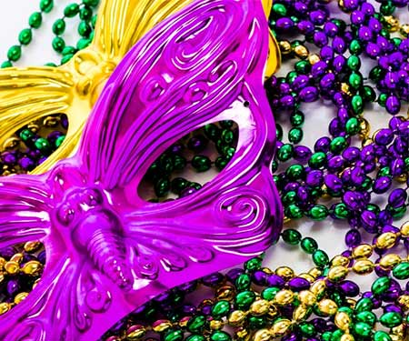 New Orleans Mardi Gras masks and beads