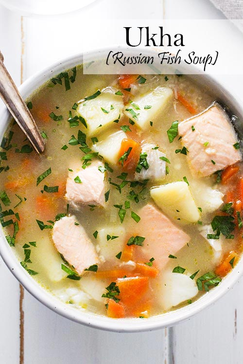 Ukha, Russian fish soup, is delicious and comforting. Fish is gently cooked with potatoes and carrots in a rich broth seasoned with bay and black pepper. | www.CuriousCuisiniere.com