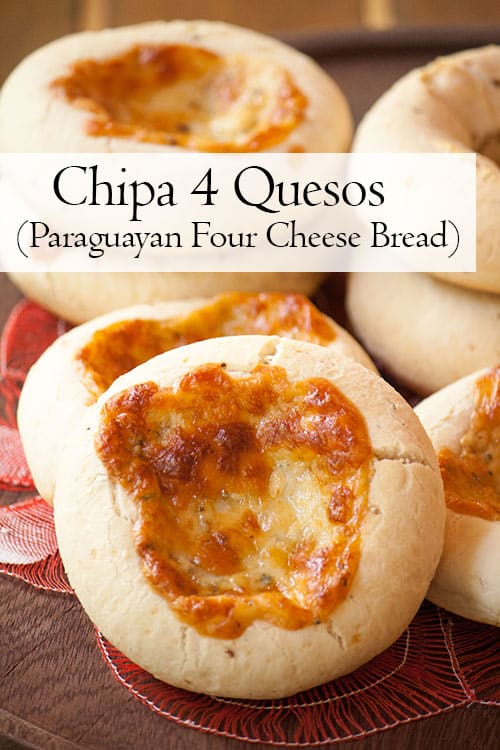 Chipa 4 quesos, cassava and cheese bread from Paraguay with golden cheese baked on top.