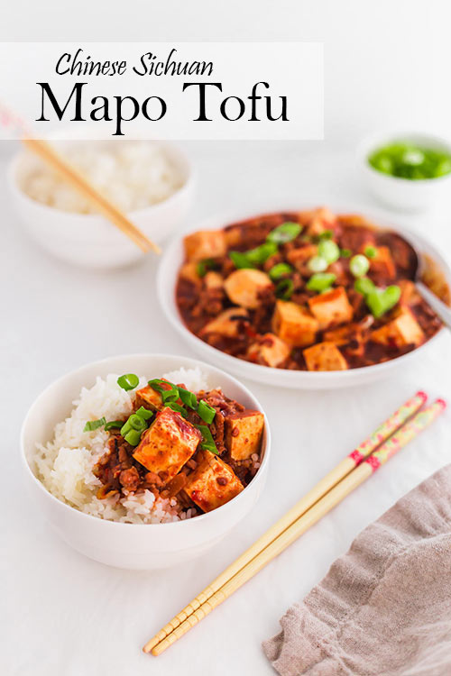 Often found in Chinese restaurants, Mapo Tofu is a quick Chinese Sichuan dinner recipe to make at home. This is an easy and flavorful way to prepare tofu, with minced meat and an aromatic red sauce. | www.CuriousCuisiniere.com