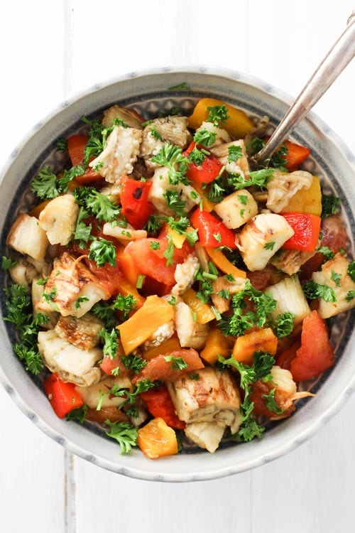 Khorovats (Armenian Grilled Vegetables) as a salad with a spoon