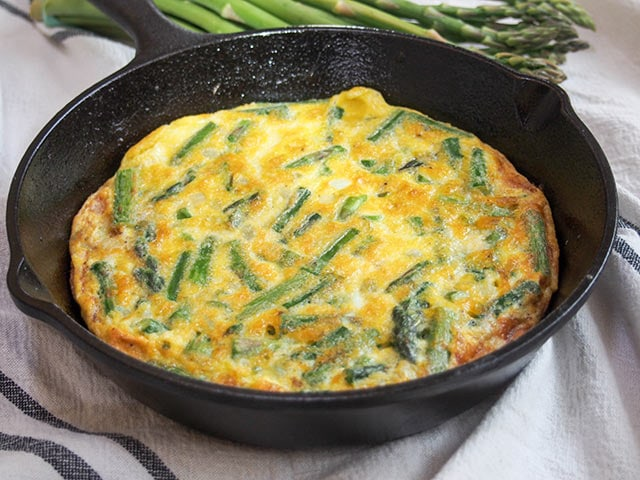 Italian asparagus fritatta, cooked and ready to serve.