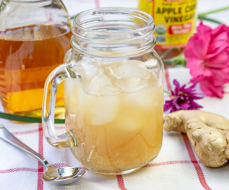 Carribean Switchel - Honey Ginger Drink - in a handled glass mug