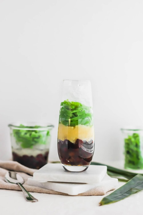 Cendol, Malaysian pandan jellies, layered with red azuki beans, yellow mung beans, before adding ice or coconut milk.
