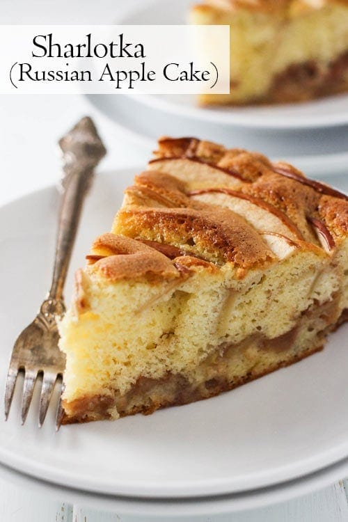 A slice of sharlotka, Russian apple cake on a white plate with a vintage fork.