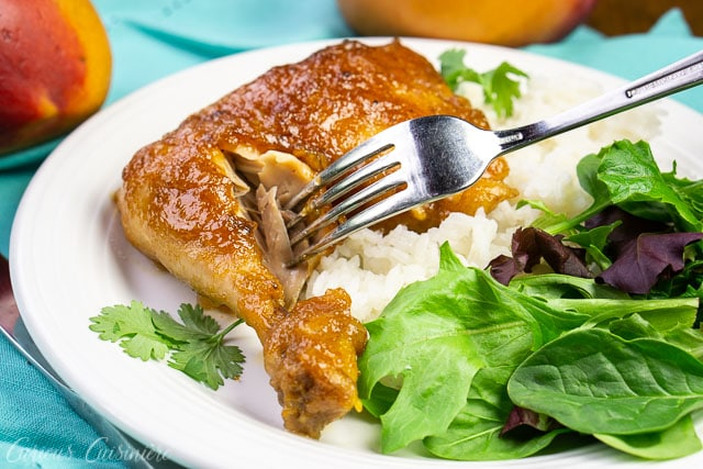 chicken with a fork taking a bite