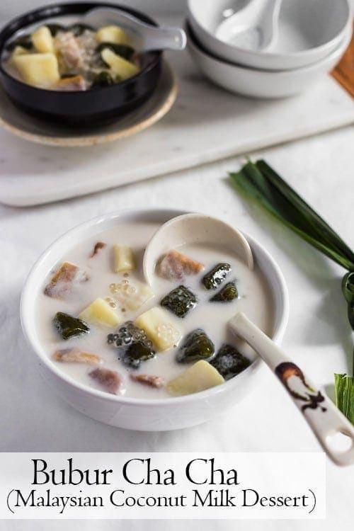 Bubur Cha Cha, a creamy and sweet Malaysian dessert made from yam, taro, and coconut milk.