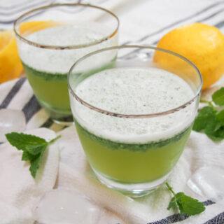 Two glasses of Limonana Middle Eastern Mint Lemonade