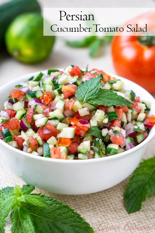 Persian Salad Shirazi is a chopped cucumber tomato salad with red onions and mint in a citrus dressing.