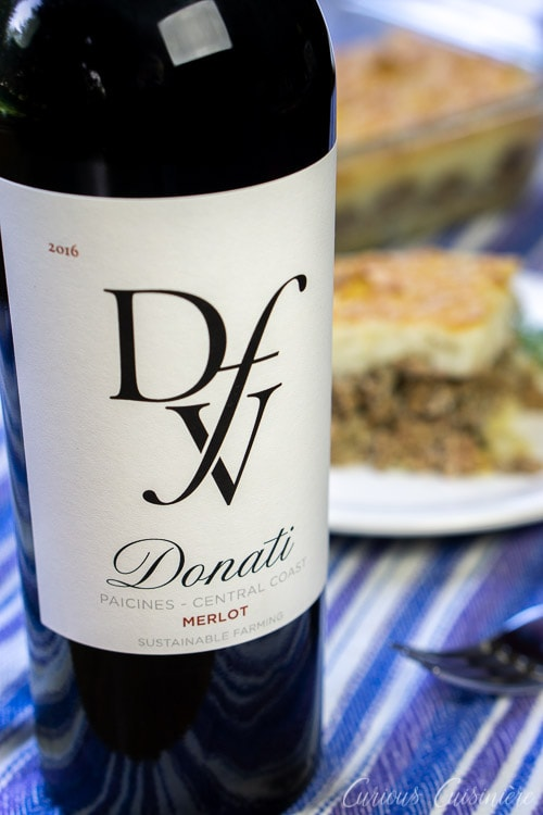 Wine Pairing with French Hachis Parmentier Potato and Beef Casserole Donati Merlot