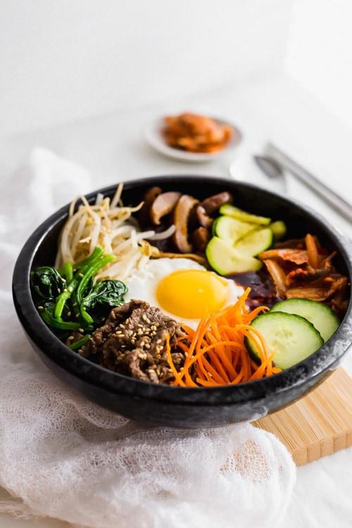 Korean Beef Bibimbap - Mixed Rice Bowl with Beef