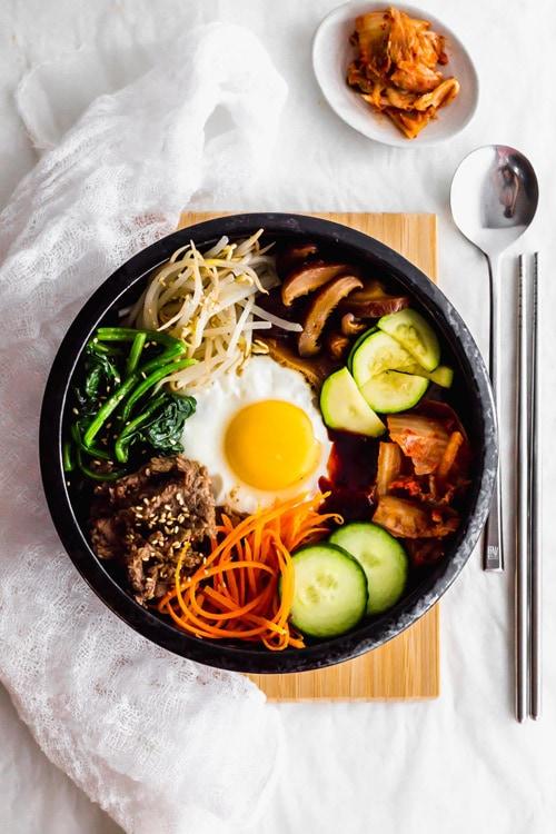 Korean Bibimbap Mixed Rice Bowl with Vegetables