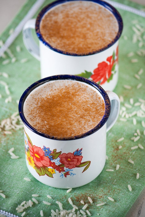 Two cups of Guatemalan Atolillo Hot Rice Atole Drink