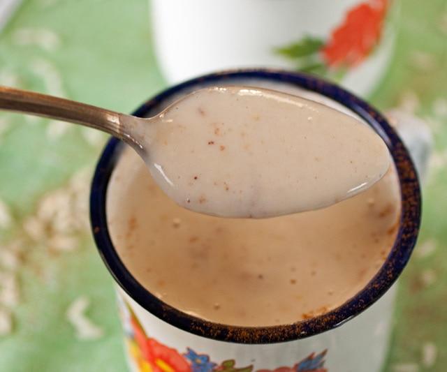 A spoonful of Guatemalan Atolillo Hot Rice Atole Drink