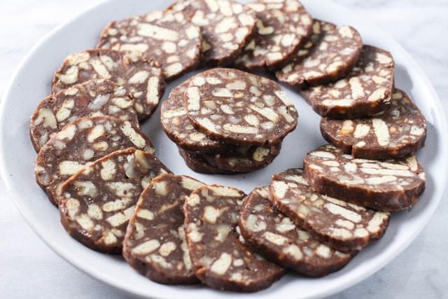 Russian Chocolate Salami (Chocolate Sausage) sliced on a platter