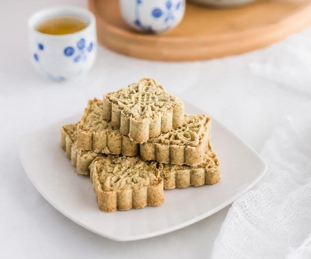 Chinese Macau-Style Mung Bean Almond Cookies on a white plate